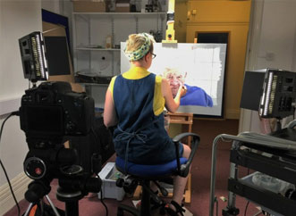 Artist Lucy Burscough creating Ocular Bionica at Central Manchester University Hospitals NHS Foundation Trust
