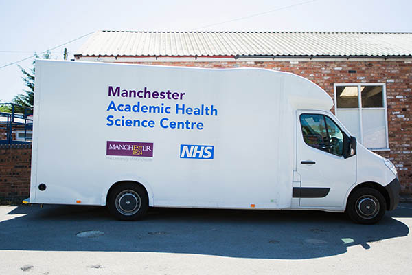 The transit van for mobile hearing tests - the 'ladies in the van'.