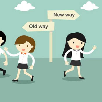 Cartoon showing the choice between the old way and the new way.