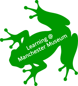 Lemur leaf frog symbol, with Learning @ Manchester Museum strapline