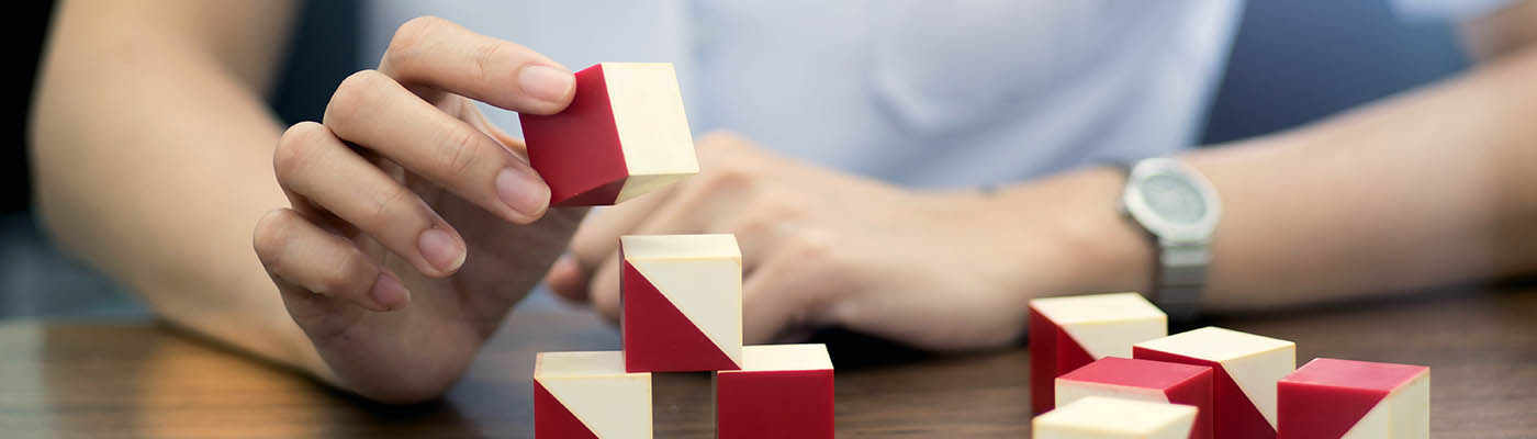 Cognitive rehabilitation using red and white blocks.