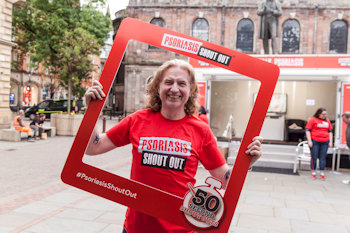 Psoriasis Shout Out: 50-Second Shout Outs in St Ann's Square, Manchester.