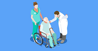 A graphic of a doctor and nurse attending to an elderly patient in a wheelchair.