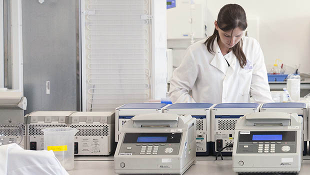 Researcher in a hospital lab