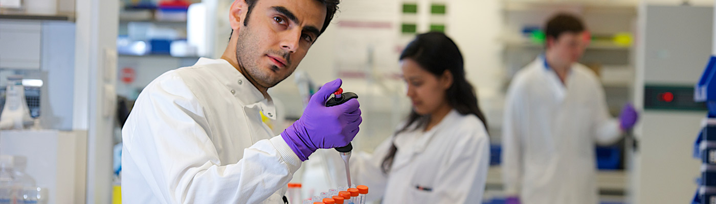 Biomedical researcher in laboratories at The University of Manchester
