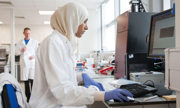 Researcher in lab at the University of Manchester