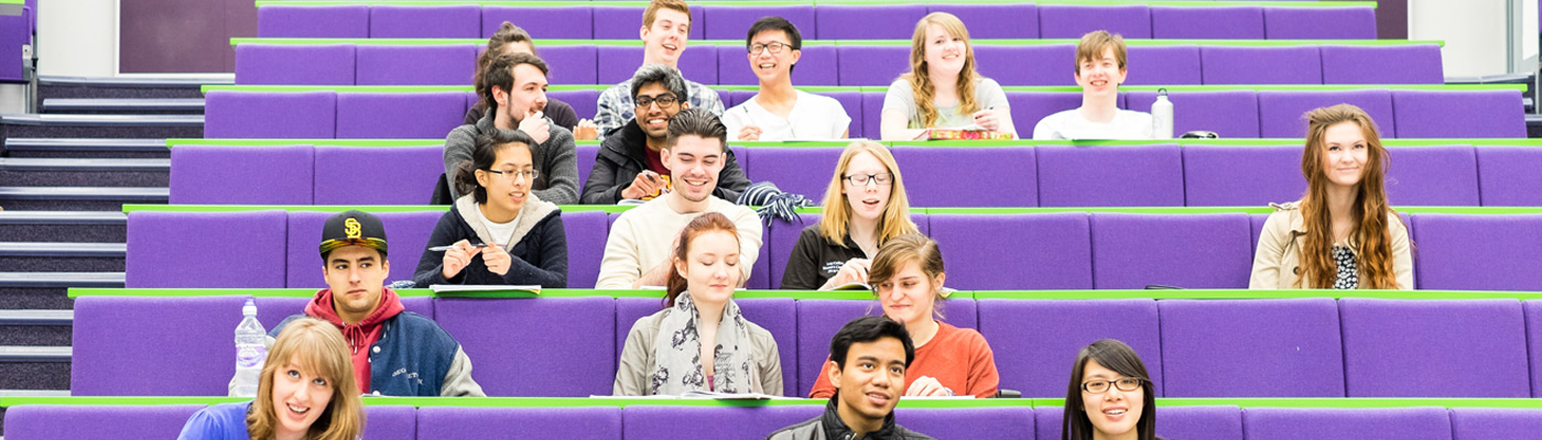 Biological science students in a lecture theatre at The University of Manchester
